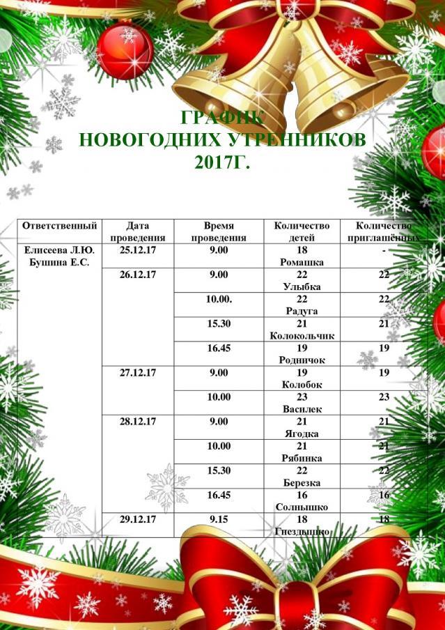 график новогодних утренников 2017